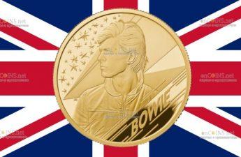 Британия монета 100 фунтов Дэвид Боуи