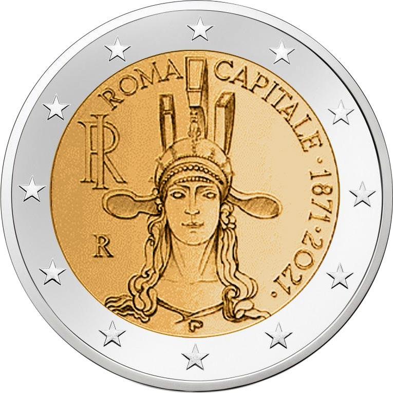В Италии монета 2 евро Рим - столица Италии, реверс