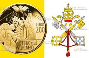 Ватикан монета 200 евро Святой Архангел Гавриил