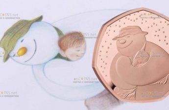 Великобритания золотая монета 50 пенсов Снеговик 2020