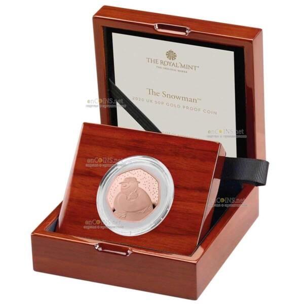Великобритания золотая монета 50 пенсов Снеговик 2020, подарочаня упаковка