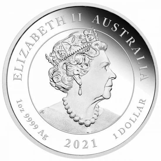 Австралия монета 1 доллар 2021 год, аверс