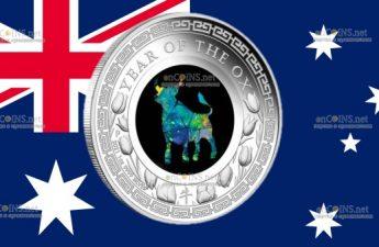 Австралия монета 1 доллар Год Быка