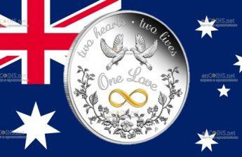 Австралия монета 1 доллар Одна любовь