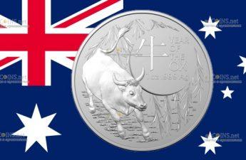 Австралия монета 1 долларов Год Быка