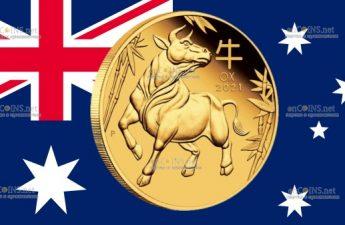 Австралия монета 15 долларов Год Быка