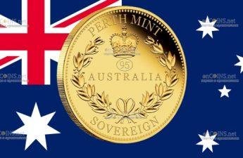 Австралия монета 25 долларов Соверен к 95-летию Елизаветы II