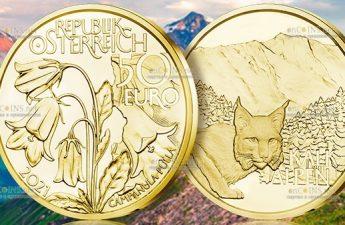 Австрии монета 50 евро Альпийские леса