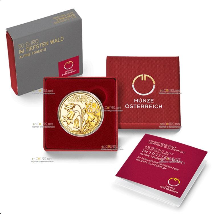 Австрии монета 50 евро Альпийские леса, подарочная упаковка