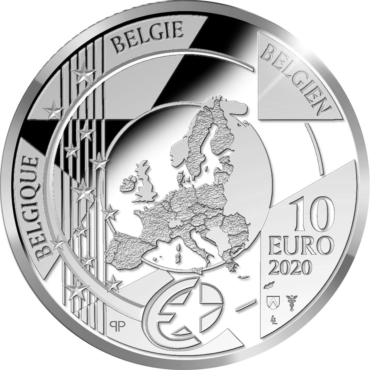 Бельгия монета 10 евро Ян ван Эйк, аверс
