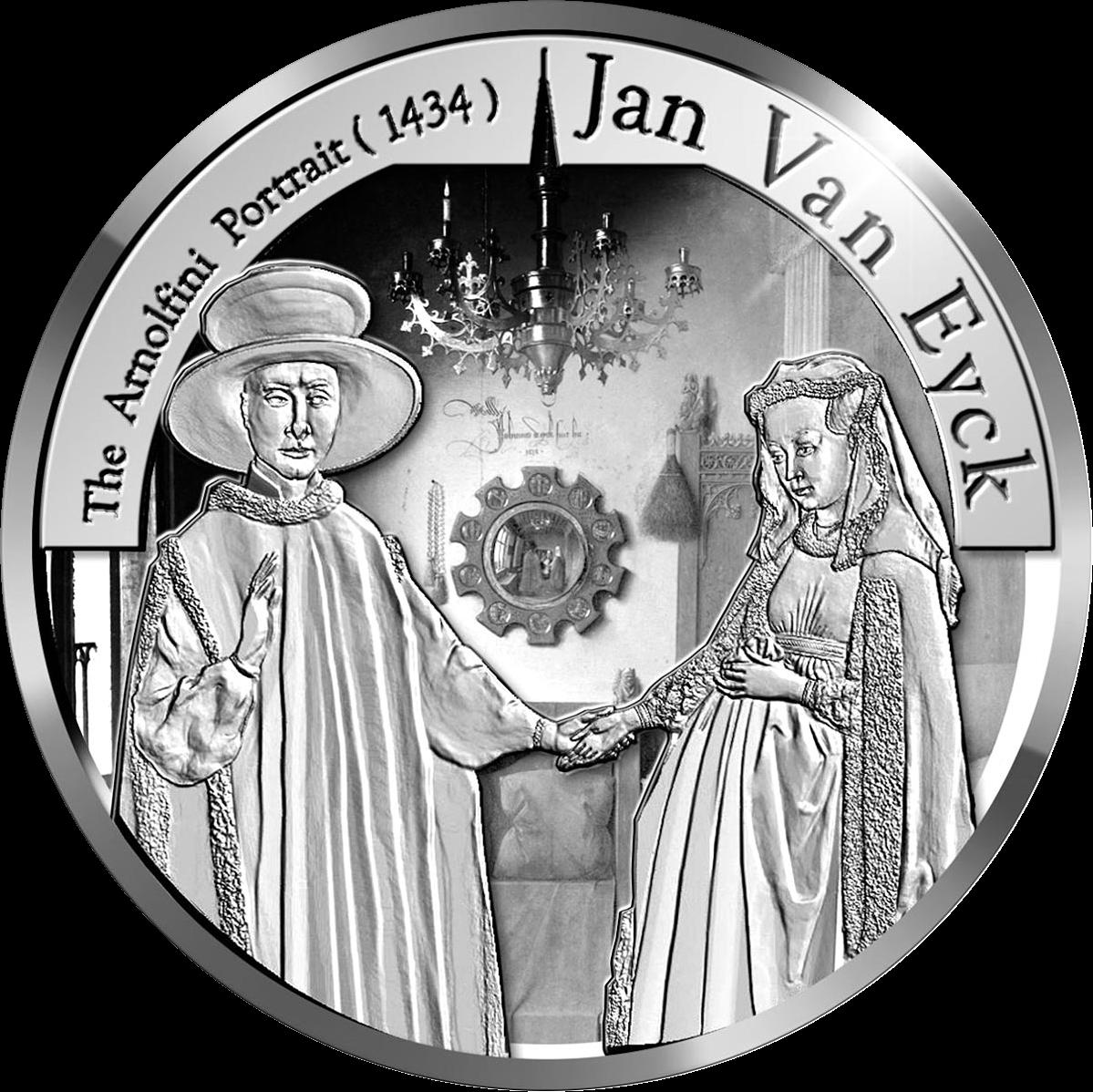 Бельгия монета 10 евро Ян ван Эйк, реверс