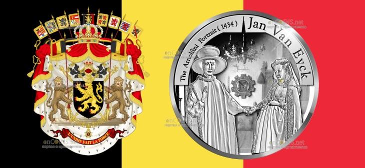Бельгия монета 10 евро Ян ван Эйк