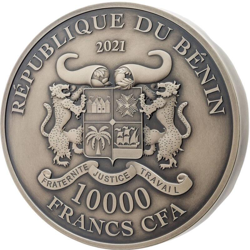 Бенин монета 10000 франков Уста Истины, аверс