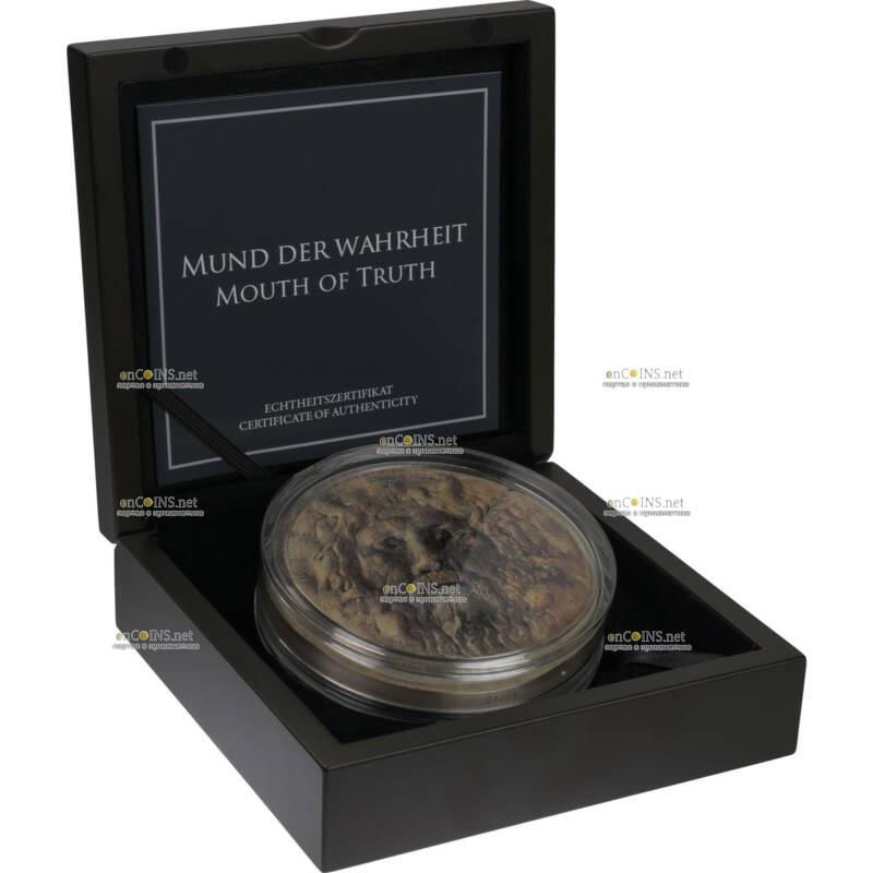 Бенин монета 10000 франков Уста Истины, подарочная упаковка