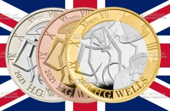 Британия монета 2 фунта Герберт Джордж Уэллс