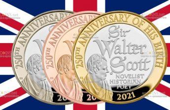 Британия монета 2 фунта Вальтер Скотт