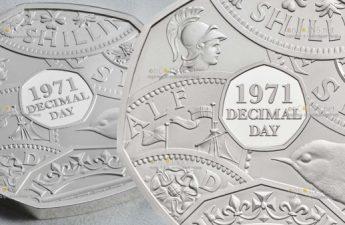 Британия монета 50 лет перехода Соединенного Королевства к десятичной системе