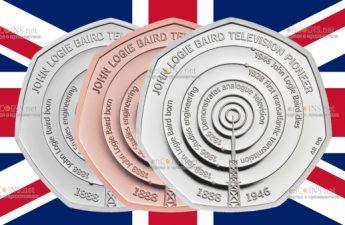 Британия монета 50 пенсов Джон Логи Бэрд