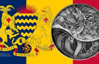 Чад монета Республика Чад монета 10 000 франков КФА Черный Дракон