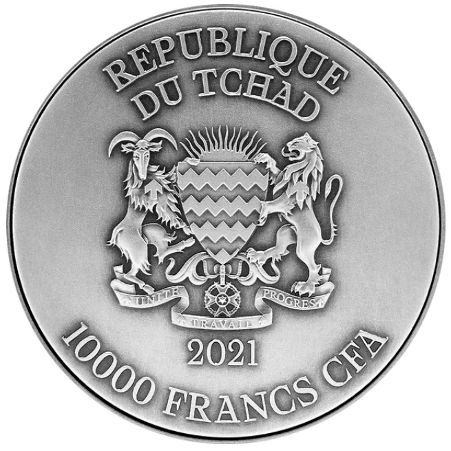 Чад монета Республика Чад монета 10 000 франков КФА Черный Дракон, аверс