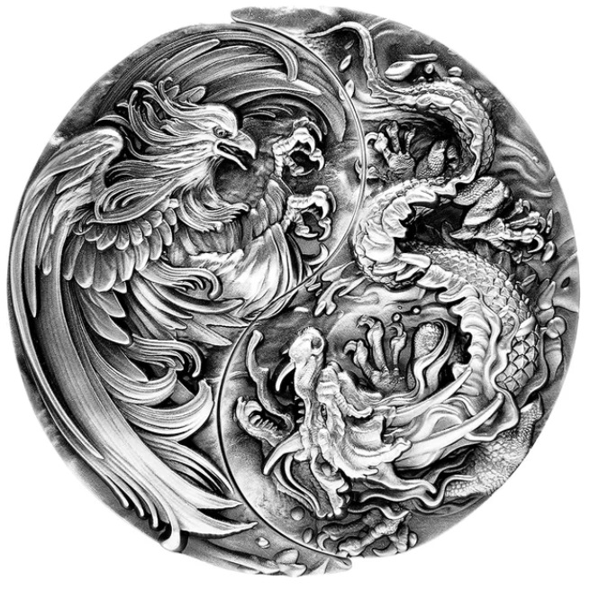 Чад монета Республика Чад монета 10 000 франков КФА Китайский Дракон и Феникс, реверс