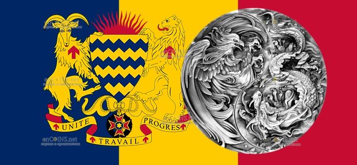 Чад монета Республика Чад монета 10 000 франков КФА Китайский Дракон и Феникс