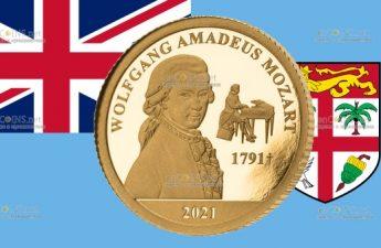Фиджи монета 5 долларов Вольфганг Моцарт