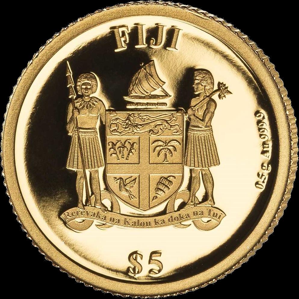 Фиджи монета 5 долларов Вольфганг Моцарт, аверс