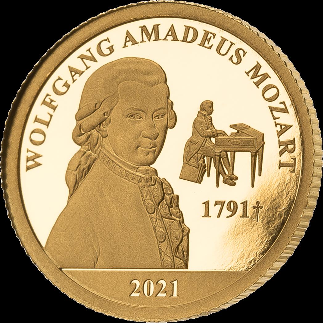 Фиджи монета 5 долларов Вольфганг Моцарт, реверс