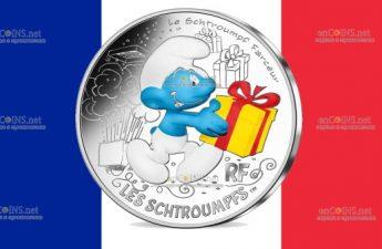 Франция монета 10 евро Джокей Смурф
