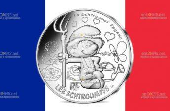 Франция монета 10 евро Фермер Смурф, реверс
