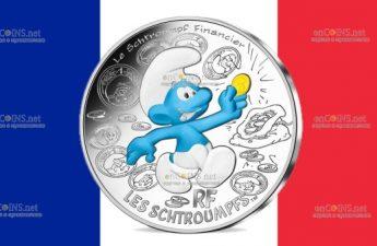 Франция монета 10 евро Финансист Смурф