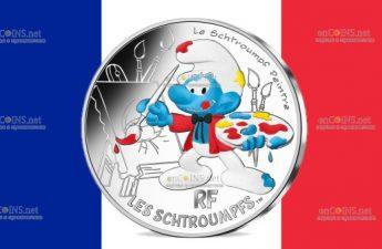 Франция монета 10 евро Художник Смурф