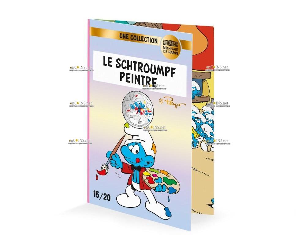 Франция монета 10 евро Художник Смурф, подарочная упаковка