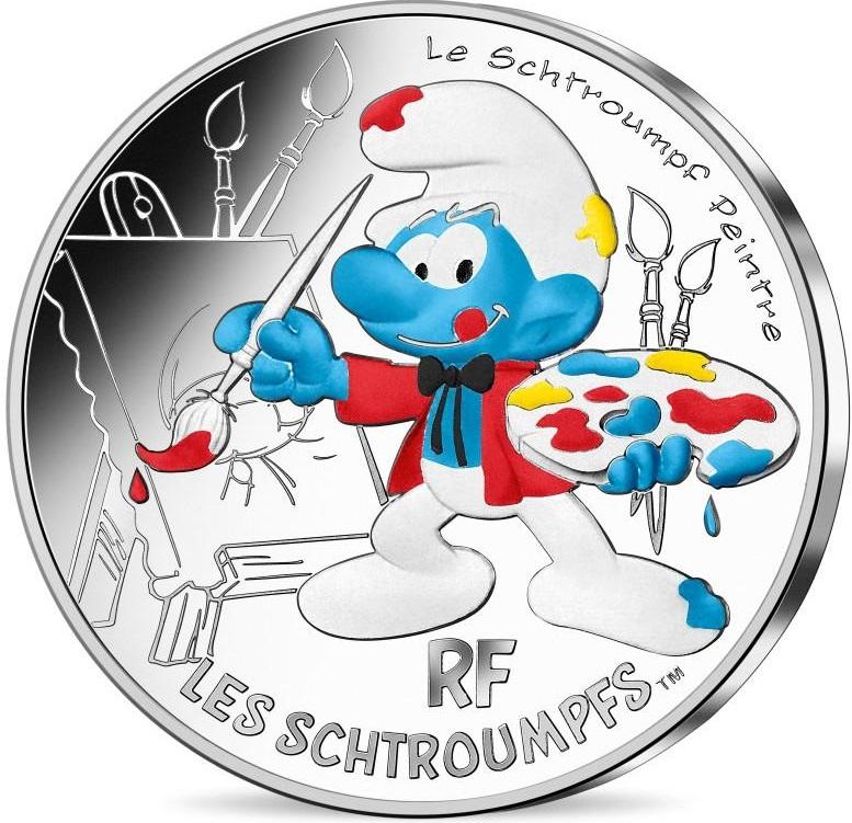 Франция монета 10 евро Художник Смурф, реверс
