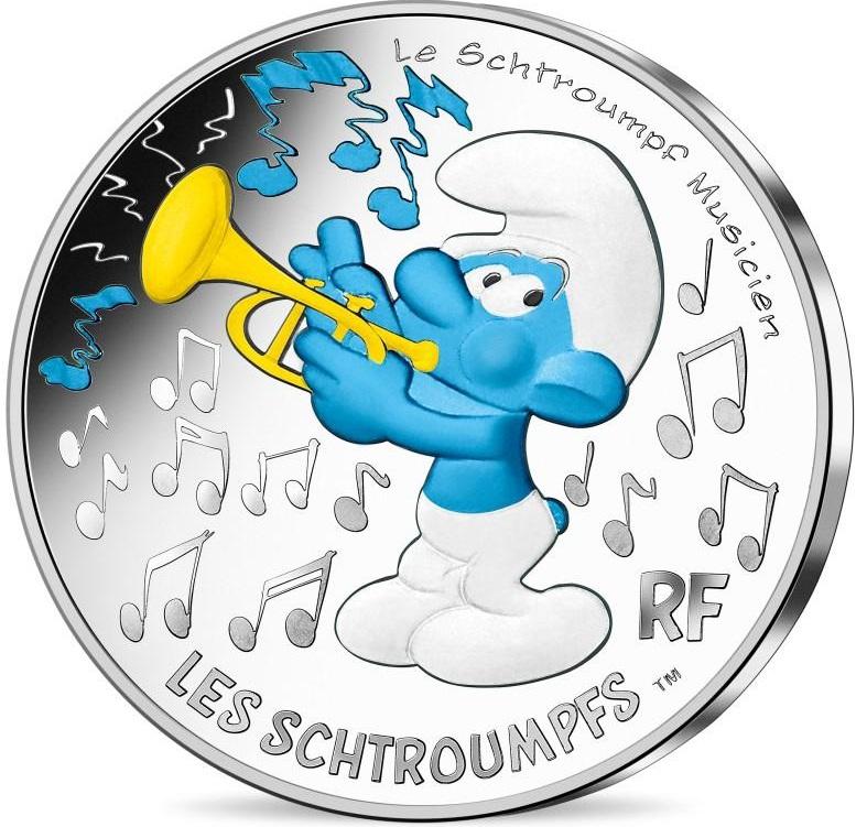 Франция монета 10 евро Музыкант Смурф, реверс