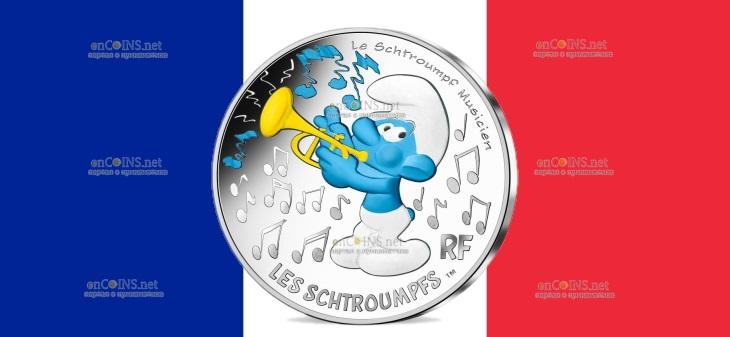 Франция монета 10 евро Музыкант Смурф