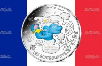 Франция монета 10 евро Неуклюжий Смурф
