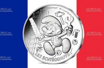 Франция монета 10 евро Разнорабочий Смурф