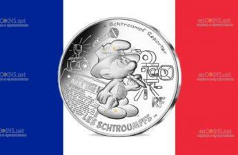 Франция монета 10 евро Репортер Смурф