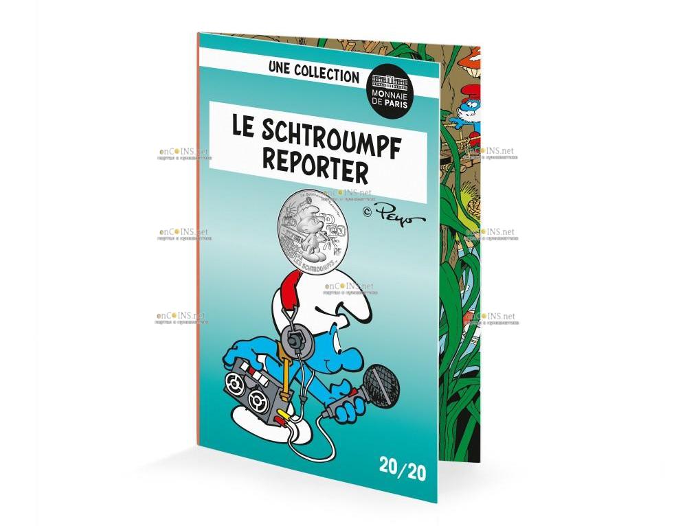 Франция монета 10 евро Репортер Смурф, подарочная упаковка