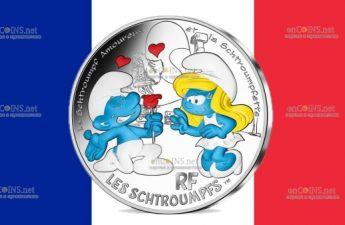 Франция монета 10 евро Влюбленный Смурф