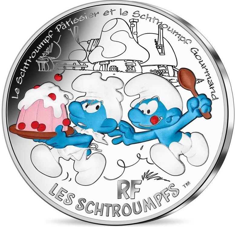 Франция монета 50 евро Жадный Смурф, реверс