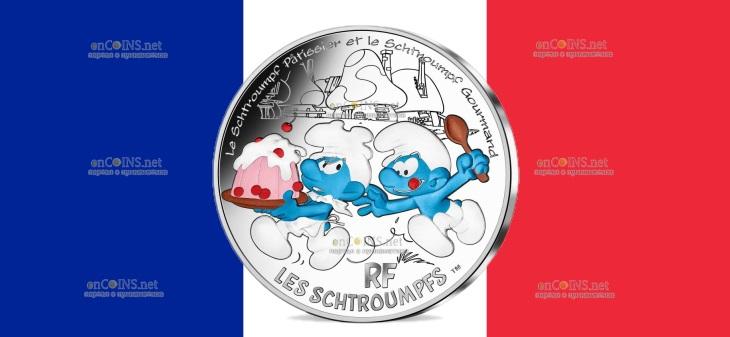 Франция монета Жадный Смурф