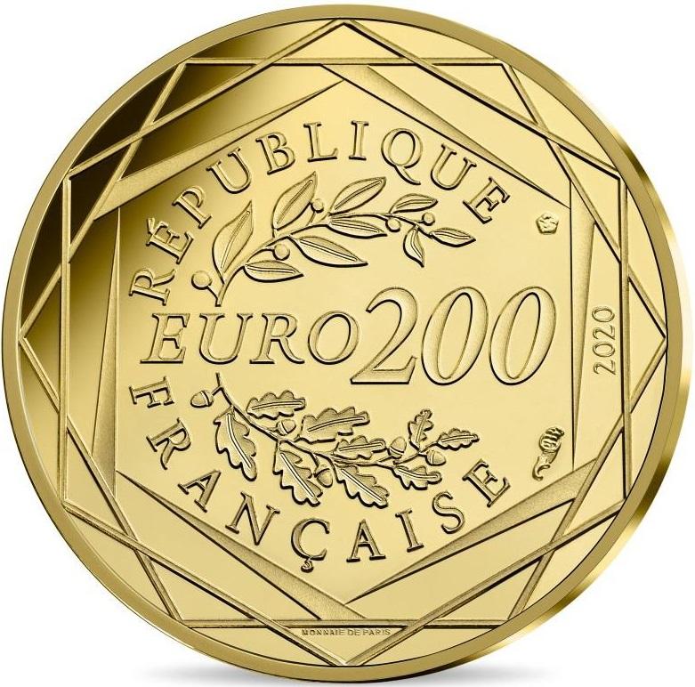 Франция монета 200 евро 2020 год, аверс