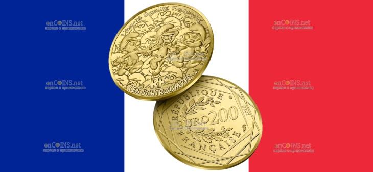 Франция монета 200 евро Смурфики