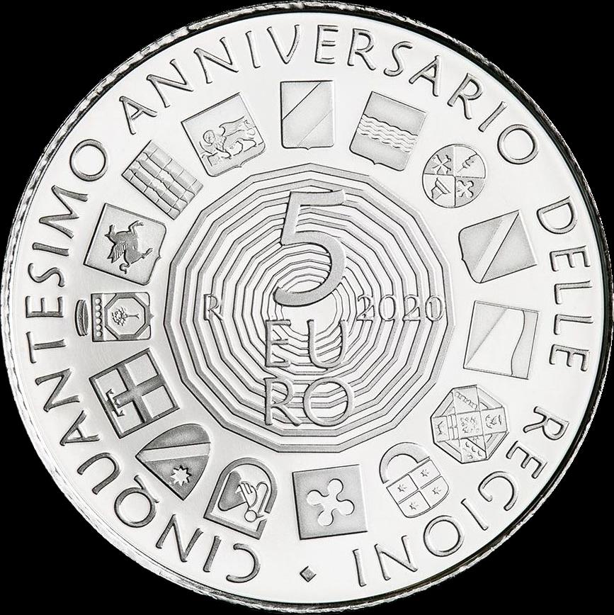 Италия монета 5 евро 50 лет со дня образования регионов с обычным статусом, аверс