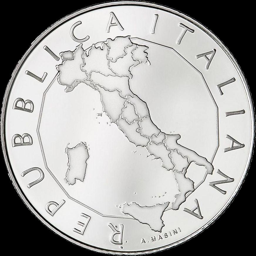 Италия монета 5 евро 50 лет со дня образования регионов с обычным статусом, реверс
