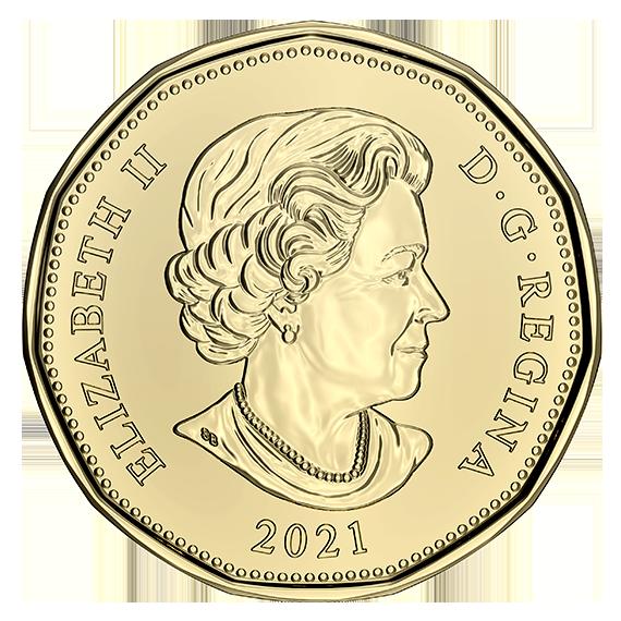 Канада монета 1 доллар 2021 года, аверс