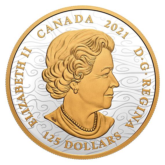 Канада монета 125 долларов Триумфальный Дракон, аверс